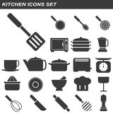 Kitchen equipment icons set Stock Photography