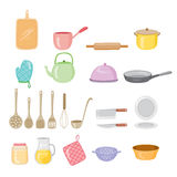 Kitchen Equipment Icons Set Stock Photo