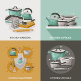Kitchen Equipment Icons Set Stock Image