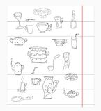 Kitchen equipment isolated vector hand drawn Stock Photos