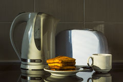 Kitchen equipment, kettle and toaster. Royalty Free Stock Photography
