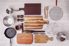 Kitchen equipment set top view Royalty Free Stock Photo