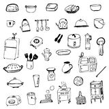 Kitchen equipment symbol sketch vector isolated Stock Photography