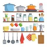 Kitchen equipments on shelf illustration Royalty Free Stock Photo