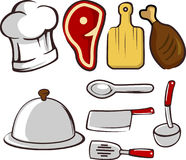 Kitchen Essentials vector. Isolated on white background. Hand drawn kitchen essentials vector elements with kitchen knifes, ladle, meat Stock Photo