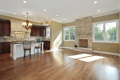 Kitchen and family room. In new construction home Royalty Free Stock Photos