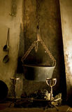 Kitchen Fireplace with a Cauldron. Royalty Free Stock Photography