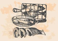 Kitchen with fish. Monochrome vector illustration. Graphic project, retro fish in kitchen Royalty Free Stock Photos