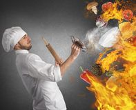 Kitchen in flames Royalty Free Stock Images