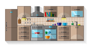 Kitchen Flat Design Royalty Free Stock Photography