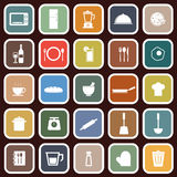 Kitchen flat icons on red background. Stock vector Royalty Free Stock Images
