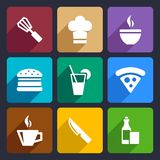 Kitchen flat icons set 23. Kitchen food and tools icons set for Web and Mobile Applications vector illustration