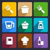 Kitchen flat icons set 24. Kitchen food and tools icons set for Web and Mobile Applications Royalty Free Stock Images