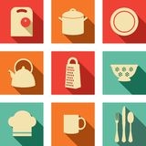 Kitchen flat icons. Set of kitchen utensils in flat style Stock Images
