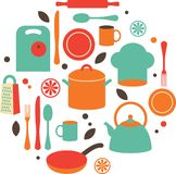 Kitchen flat icons. Set of kitchen utensils in flat style Royalty Free Stock Photo
