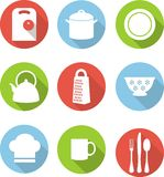Kitchen flat icons. Set of kitchen utensils icons in flat style Royalty Free Stock Photography