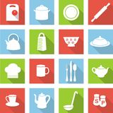 Kitchen flat icons. Set of kitchen utensils icons in flat style with shadows Royalty Free Stock Photo