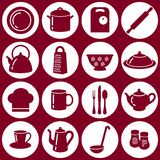 Kitchen flat icons. Set of kitchen utensils icons in flat style with shadows Stock Image