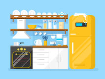 Kitchen flat style Stock Images