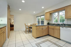 Kitchen with floor design Stock Images