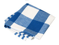 Kitchen folded blue picnic checkered cloth isolated. Stock Photography