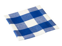 Kitchen folded blue picnic checkered cloth isolated. Stock Image