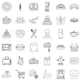 Kitchen food icons set, outline style. Kitchen food icons set. Outline style of 36 kitchen food vector icons for web isolated on white background Royalty Free Stock Photo