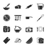 Kitchen, food 16 icons universal set for web and mobile. Flat Stock Illustration
