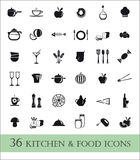 36 kitchen and food ikons Stock Photography
