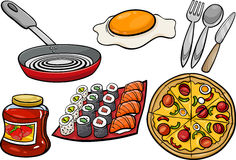 Kitchen and food objects cartoon set Royalty Free Stock Images