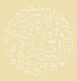 Kitchen and Food Outline icons  Vector illustration Royalty Free Stock Photography