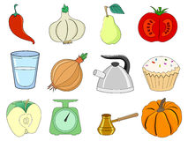 Kitchen and food related illustrations Stock Images