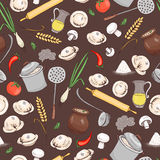 Kitchen and food seamless vector pattern Stock Photo