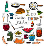 Kitchen and food set hand drawn colorful sketches Royalty Free Stock Photo