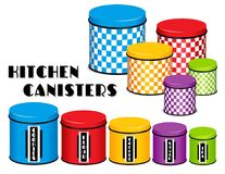 Kitchen Food Storage Canister Set, Checkerboard Design, Multi co Stock Photos