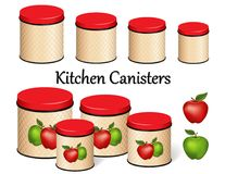 Kitchen Food Storage Canister Set, Red and Green Apples, lattice background design, four sizes. Eight kitchen food storage canisters with lids, four sizes: small Stock Images