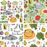 Kitchen&food uppsättning vektor illustrationer