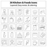 Kitchen and foods icons Royalty Free Stock Image