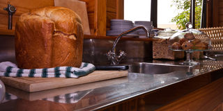 Kitchen and fresh bread Royalty Free Stock Image