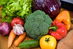 Kitchen - fresh colorful organic vegetables captured from above top view, flat lay.  Royalty Free Stock Photography