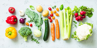 Kitchen - fresh colorful organic vegetables on worktop Royalty Free Stock Image