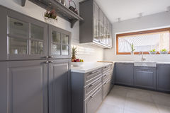 Kitchen with fruit. Light kitchen with fruit on the table Stock Photography