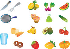 Kitchen fruits veggies Vector Royalty Free Stock Images