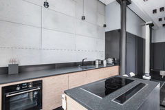 Kitchen with functional worktop stock photo
