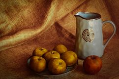 A full plate of ripe apples collected in his garden. Jug with homemade drink. Harvest season in the village. Semi-matt background. stock photos