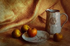 Stylization under a rustic style. Rough background and elegant pottery. Autumn apples on the table. Jug with homemade kvass. The l royalty free stock photo