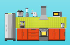 Kitchen with furniture and appliances. Flat style vector illustration Stock Images