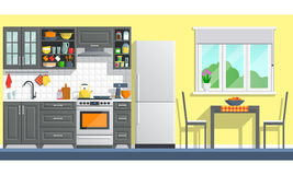 Kitchen furniture with appliances Stock Photo