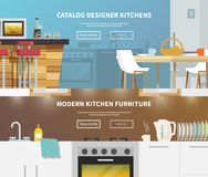 Kitchen Furniture Banner. Kitchen furniture horizontal banner set with flat design elements isolated vector illustration vector illustration