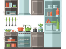 Kitchen with furniture, cooking utensils and appliances. Flat style vector illustration. Stock Photos